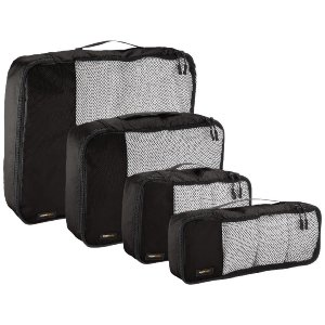 AmazonBasics 4-Piece Packing Cube Set - Small, Medium, Large, and Slim