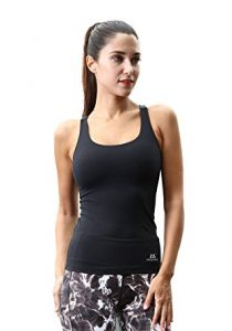 Matymats Woman's Sports Racer Tank Top Built in Shelf Bra Fast Dry