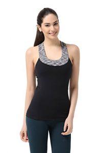 Sportown®Women's Contrast Scoop Neck Yoga Tank Top With Built-in Shelf
