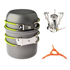 Camp Stove, Petforu Ultralight Portable Outdoor Camping Stove Hiking Backpacking Picnic Cookware Cooking Tool Set Pot Pan & Piezo Ignition Canister Stove