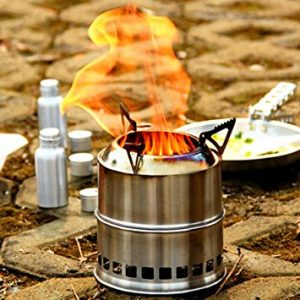 EIALA Potable Stainless Steel Wood Burning Camping Stove